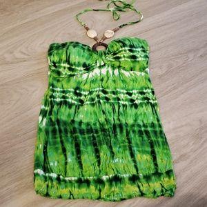 Body Central Tye Dye Green Halter Top
